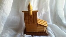 HANDCARVED WOODEN HINDU TEMPLE SEE PICTURES OF ORIGINAL TAG ON BOTTOM 4 1/2""