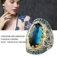 Vintage Zircon Blue Boho Antique Sapphire Cocktail Ring Jewelry Finger Ring M7P6
