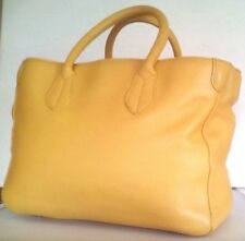 RARE BODEN YELLOW SHOPPER BAG BEACH TOTE 100% REALLY THICK PEBBLE LEATHER