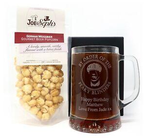 Personalised Peaky Blinders Pint Glass Tankard & Beer Popcorn Gift