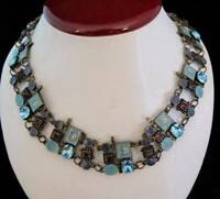 BEAUTIFUL VARIETY OF SHADES OF BLUE & PURPLE CRYSTALS & ENAMEL NECKLACE
