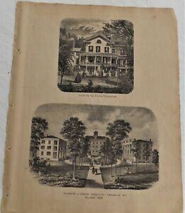 1869 NY Delaware County Print Franklin Literary Institute Original Atlas Map