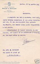 # SAVIGLIANO: lettera- SOCIETA' NAZ. OFFICINE DI SAVIGLIANO - On. OLIVETTI