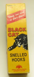 Vintage Black Cat snelled hooks, No.131, Size 2, From 1950's, 20 packs, and Box