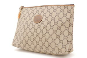 【Rank B】Auth GUCCI Vintage Pouch GG Plus Pouch PVC  Leather From Japan A055