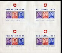 SWITZERLAND SCOTT#B80 COMPLETE SHEET OF FOUR SOUVENIR SHEETS MINT HINGED THINNED
