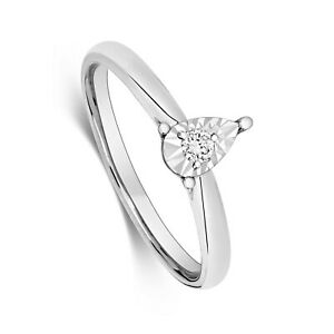 Diamond Solitaire Pear Ring White Gold Illusion Set Certificate Size H - Z
