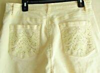 Gloria Vanderbilt Amanda Embellished Capri Pants Slimming Pale Yellow Size 12