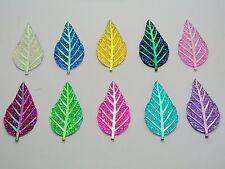 20 Mixed Color Flatback Resin Leaves Glitter Rhinestone Cabochons 52X28mm Craft