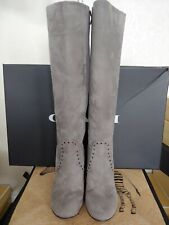 Coach Falon Knee High Block Heeled Boots Gray Suede Size 7.5 (NIB)
