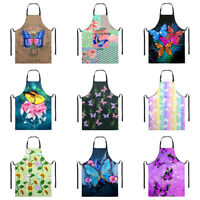 Butterfly Design Bib Apron with Pocket for Women Waterproof Cooking BBQ Aprons