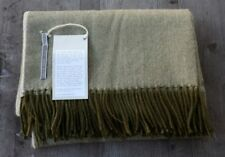 Alicia Adams 100% Baby Alpaca Throw Olive Green Herringbone – Ret. $500 - New