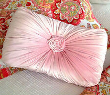 Shabby French Country Velvet Pink Rectangle Rosette Bed Breakfast Sofa Cushion