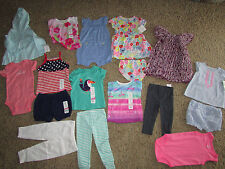 NEW LOT /17 BABY GIRL CLOTHING CARTER'S SHORTS ROMPERS DRESSES SHIRTS 12 MONTHS