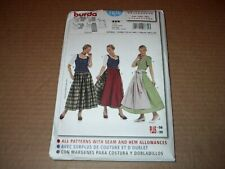 Burda Pattern 7870 ~ Misses' German Dirndl Dress/Costume w/Apron Sz 12 ~ 30  Unc