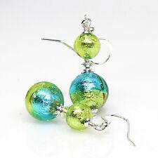 Venetian Murano Glass Earrings, Aqua, Peridot, Sterling, Artisan, Lampwork