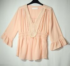 POWDER PINK LADIES FORMAL PARTY TOP BLOUSE SIZE M LUCY WANG