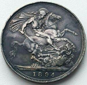 1894 Silver Crown Coin Queen Victoria LVIII edge High Grade Toned