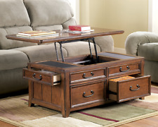 Lift Top Trunk Style Coffee Table with Storage Drawers Oak Cocktail File Chest