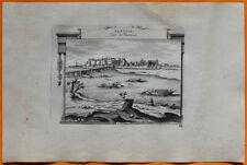 VAN DER AA Gravure originale c1725 VUE D'AMBOISE Touraine Indre-et-Loire Château
