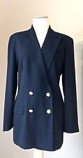 Classic RALPH LAUREN Double Breasted Navy Blue 100% Wool Blazer Jacket 10