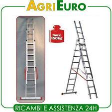 Scala alluminio telescopica Facal Genia 3 Rampe 9 gradini allungabile Mt. 7 20