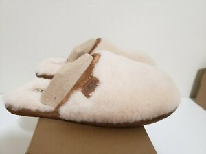 UGG FLUFFETTE SUEDE & WOOL SLIP-ON SLIPPERS 1102594 AUTHENTIC. WOMAN'S SIZE 5