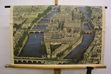 Tableau Image Aérienne Paris Stadtinsel Seine Notre-Dame 9 Ponts 92x58 ~1960
