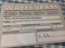 Blaser R93 Match Bolt action warranty card    300 Win Mag 9/173683