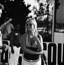 Lady Drag Racing Fan/Hurst Girl @ OCIR - Vintage 120mm B&W Dragster Negative DR2