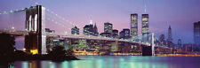Twin Towers Brooklyn Bridge New York Skyline Poster Huge Door Sized 21x62