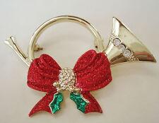 Rhinestone Goldtone Holiday Glitter Christmas French Horn Music Brooch Pin