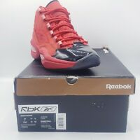 REEBOK QUESTION MID HEART OVER HYPE SZ 7.5 RED BLACK PATENT ALLEN IVERSON FW5304