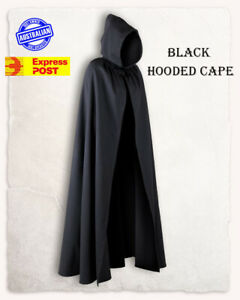 Adult Black Hooded Cape Robe Cloak Vampire Witch Wizard Halloween Costume Expres