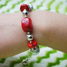 Jubilant Tibetan Silver Coral Stone Bracelet Red Bead Bangle