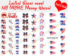 4th of July I love America Clear Vinyl PEEL and STICK Nail Decals set of 53