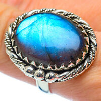 Large Labradorite 925 Sterling Silver Ring Size 8.5 Ana Co Jewelry R37299F