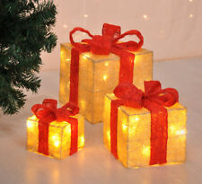 LED Deko Geschenk Boxen - 3er Set / Timer - Weihnachts Dekoration Weihnachtsdeko