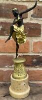 Art Deco Bronze Lady 'Corinthian Dancer' - 28cm - after Colinet - Marble Base