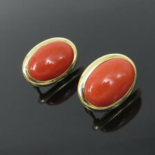 Vintage Large Size Natural Orange Red Coral & 14K Yellow Gold Clip Earrings
