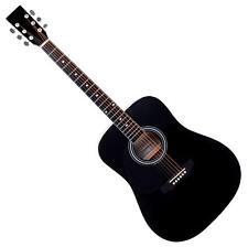 Guitare Acoustique Dreadnought Folk Blues de Gaucher 20 Frettes 6 Cordes Noir