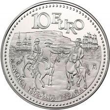ESPAÑA SPAIN BICENTENARIO INCORPORACION MENORCA 2002 10 EUROS PLATA PROOF