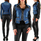New Women Clubbing Biker Jeans Jacket Sexy Ladies Coat Size 8 10 12 14 Cardigan