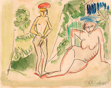 Ernst Kirchner Reproduction: Two Bathers near the woods - Fine Art Print