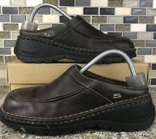 Skechers Chunky Slip On Shoes Brown Leather 45058 Vtg Sandal Size 8.5 Women's