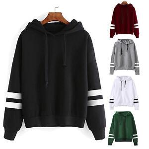 Women Long Sleeve Ladies Casual Hooded Sweatshirt Jumper Pullover Tops Plain Top