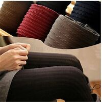 Women's Winter Striped Slim Stretch Footed Knit Tights Pantyhose Stockings Pants