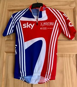 """ADIDAS TEAM SKY BRITISH CYCLING JERSEY ADULT SMALL 36-38"""" CHEST-USED"""