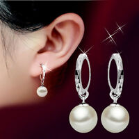 Korean Women Silver Pearl Dangle Hoop Earrings Fashion Lady Wedding Jewelry Gift