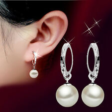 Fashion Women Silver Freshwater Pearl Dangle Hoop Earrings Wedding Jewelry Gift